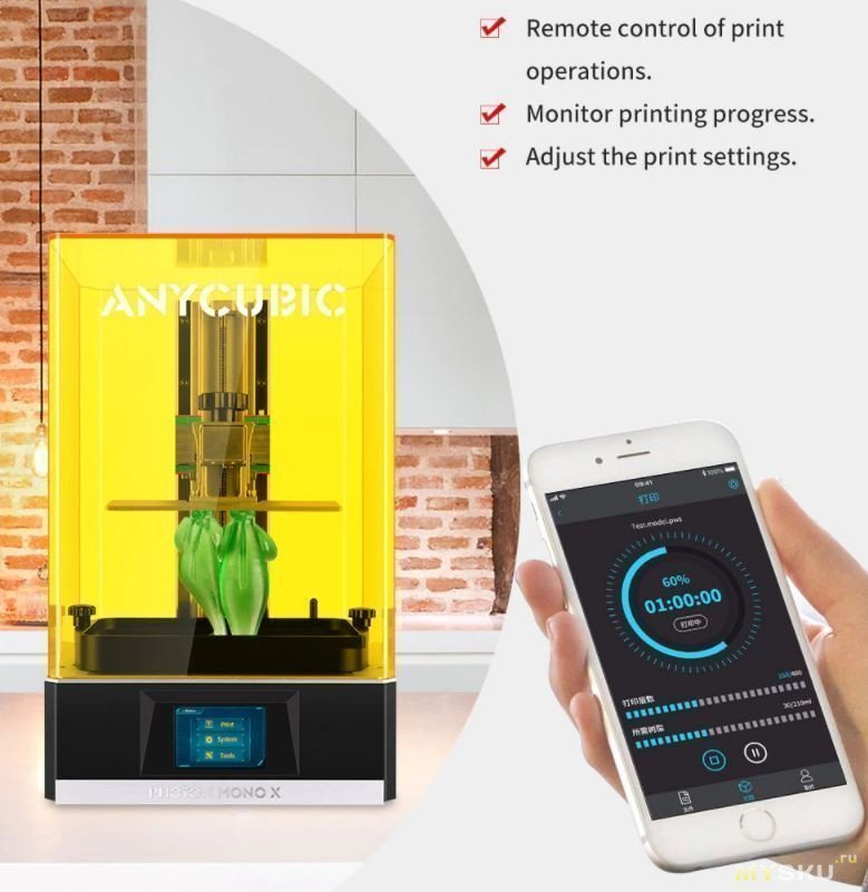 3D - принтер ANYCUBIC PHOTON Mono X за 510.62$ (RU склад)